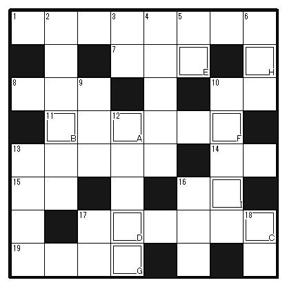 クロスワードパズル8マス×8マス 英語ver.