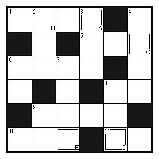 クロスワードパズル6マス6マス 20161105