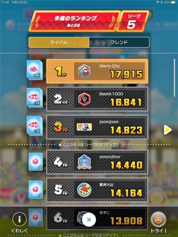 【マリオカートツアー】リーグ5で現在首位!